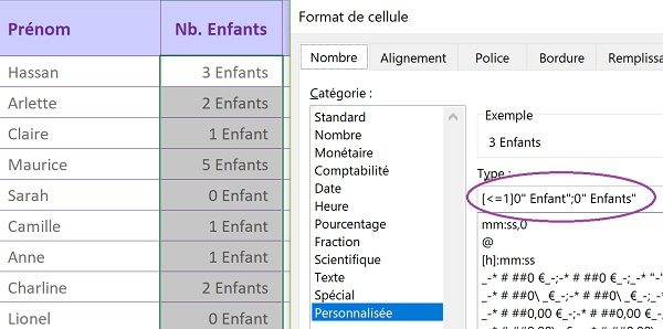 Format de cellule Excel conditionnel pour réaliser automatiquement les accords grammaticaux