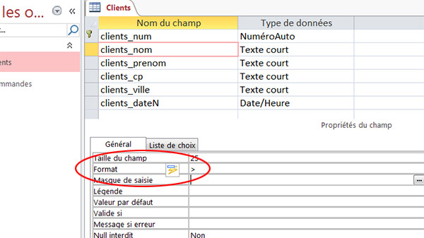 Format majuscules, champ table Access