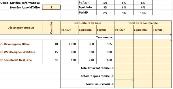 Etudes comparatives de prix avec excel for Etude de sol prix