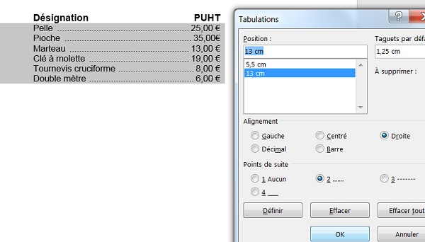 Tabulation, alignements avec points de suite