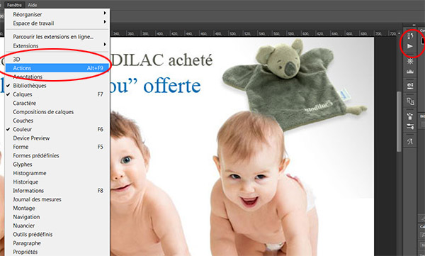 Aficher la palette Actions de Photoshop