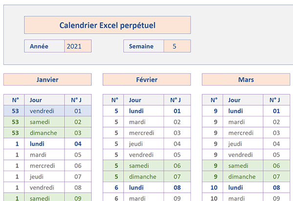 Calendrier annuel et perpétuel avec Excel