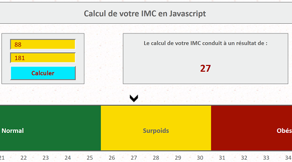 Application internet Javascript de calcul Indice Masse Corporelle selon données saisies par internaute