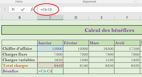 Cr er des tableaux et r aliser des calculs excel - Calcul charges appartement ...
