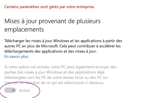 Couper mises à jour Windows Update impossible manuellement
