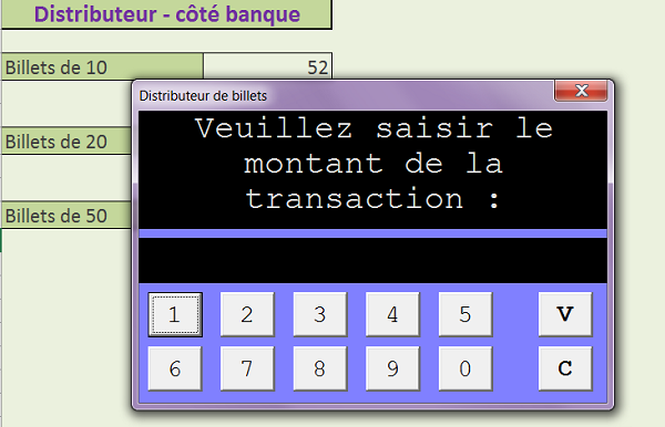 Distributeur automatique de billets, interface graphique VBA Excel