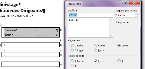 Points de suite et taquets de tabulation dans cellule de tableau Word