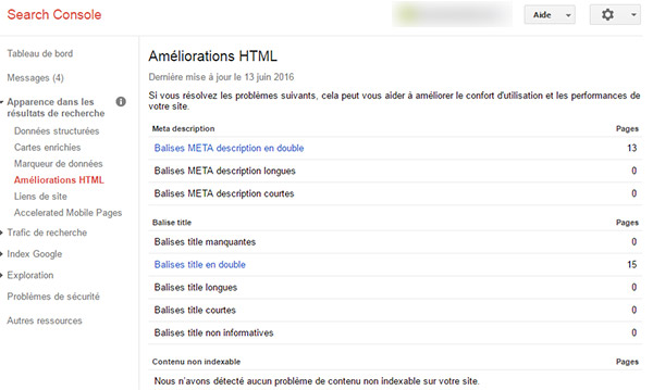 Améliorations HTML Google Search, balises meta