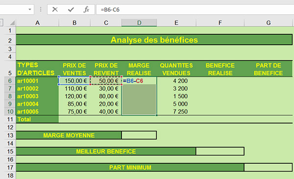 Calcul marge, soustraction Excel