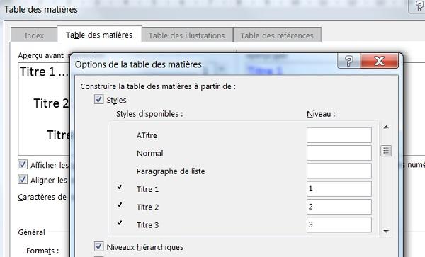 Table Des Matières Word Avec Les Styles De Mise En Forme