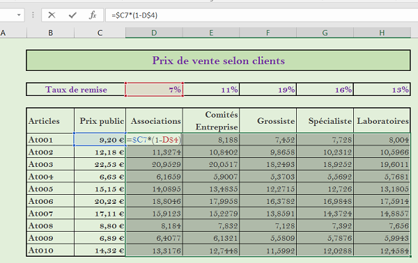 Reproduire Des Calculs Excel Partout Avec Une Seule Formule