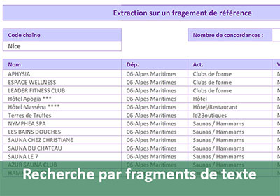 Extraction par fragments de textes avec Excel