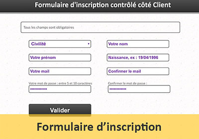 Formulaire d inscription Web contrôlé en Javascript