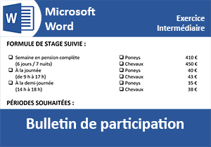 Mise en page d un bulletin d inscription Word